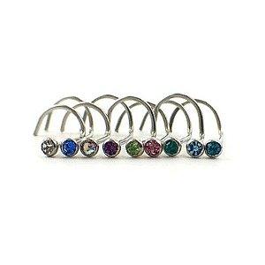 Piercing - Aço Cirúrgico - Nostril - Pedra de strass/ colada - Espessura - 0.6mm