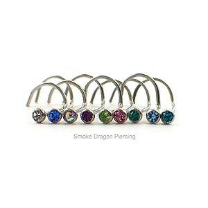 Piercing - Nostril - Aço Cirúrgico - Pedra de strass/ colada