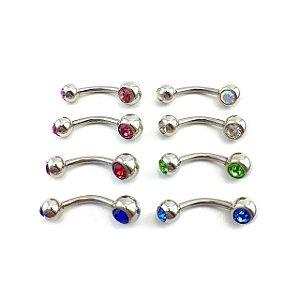 Piercing - Barbell Curvo - Umbigo - Aço Cirúrgico - 2 Pedra 5mm/ 6mm - Espessura 1.6 mm
