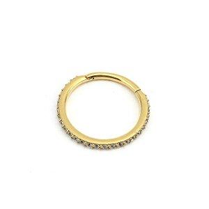 Piercing - Segmentado - Articulado - Clicker - Aço - Gold PVD 24K - Zircônia Swarovski - Espessura 1.2mm