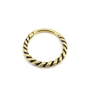Piercing - Segmentado - Articulado - Clicker - Aço - Gold PVD 24K - Corda - Conch -  Espessura 1.3mm