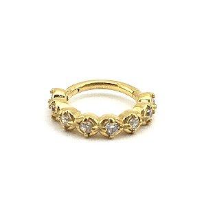 Piercing - Segmentado - Articulado - Clicker - Aço - Gold PVD 24K - Zircônia Cúbica - Espessura 1.2mm