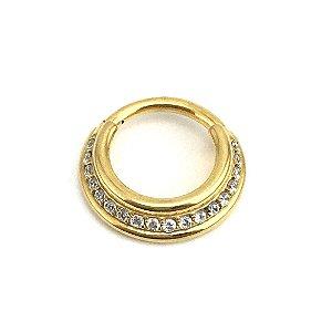 Piercing - Segmentado - Articulado - Clicker - Aço - Gold PVD 24K - Zircônia Cúbica - Septo - Espessura 1.2mm