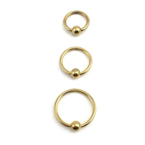 Piercing - Captive - Argola - Aço Cirúrgico - Folheado - Dourado - Espessura 1mm