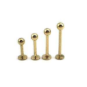 Piercing - Labret - Aço Cirúrgico - Folheado - Dourado - Espessura 1.2mm