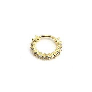 Piercing - Argola - Latão - Banho Ouro 18K - Strass - Espessura 1mm