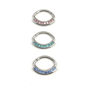 Piercing - Daith - Septo - Articulada - Clicker - Aço Cirúrgico - Zircônia Swarovski - Espessura 1.2 mm