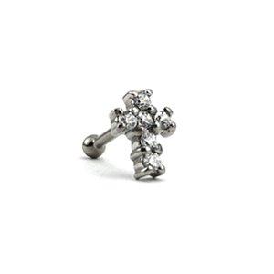 Piercing - Microbell Reto - Cruz - Aço Cirúrgico - Zircônia  Swarovski - Rosa Interna - Espessura 1.2 mm