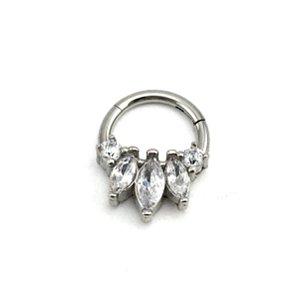 Piercing - Argola - Segmentada -  Articulada - Clicker - Brilho - Zircônia - Aço Cirúrgico - Espessura 1.2 mm