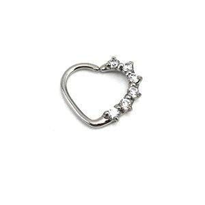 Piercing - Coração - Daith - Aço Cirúrgico - Zircônia Cúbica - Espessura 1.2 mm