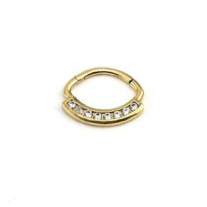 Piercing/Aço/Daith/Septo/Clicker/Banhado Ouro 24K/Zircônia Swarovski/Espessura 1.2 mm