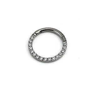 Piercing - Argola - Segmentada -  Articulada - Clicker - Titânio - Zircônia Cúbica - Espessura 1.2 mm
