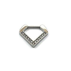 Piercing - Triângulo - Aço Cirúrgico - Zircônia Cúbica - Espessura 1.2 mm