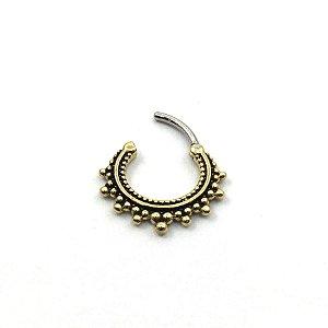Piercing/Aço/Argola/Segmentada/Clicker/Bronze/1.2*14 mm