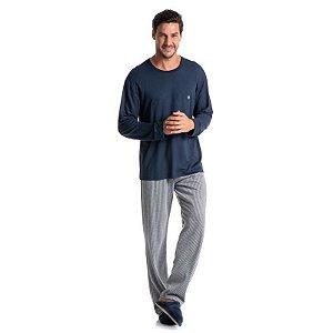 Pijama masculino moletinho Lucca calça listrada