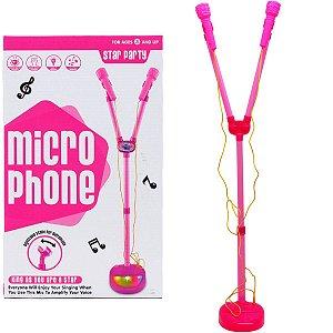 Microfone C/ Pedestal Duplo Mega Star BBR TOYS