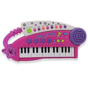 Teclado Musical Single Star Rosa  - Bbr Toys