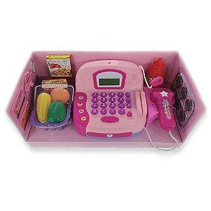Caixa Registradora Rosa Claro com Acessórios - Bbr Toys