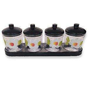Porta Condimentos com 4 Potes Preto Decoração - Amilplast