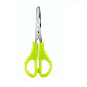 Tesoura Escolar Verde Neon com Escala KS-95 - Cis