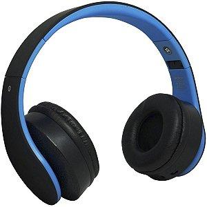 Fone Ouvido Headphone Bluetooth Sem Fio Dobrável Estéreo Fm Micro Sd - Preto e Azul