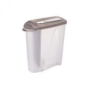 Porta Sabão em Pó de Plástico 1 Kg com Tampa e Dosador Cinza Plasútil