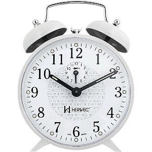 Despertador Herweg 2206 Branco Antigo Retrô Relógio
