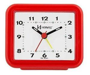 Relógio Despertador Pilha Vermelho Alarme Forte Herweg