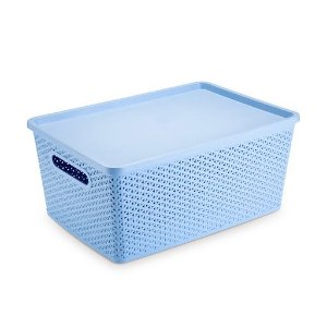 Caixa Cesto Organizadora Rattan Azul - Plasnorthon 35l