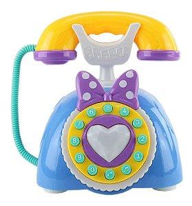 Brinquedo Telefone Musical Infantil C/ Som E Luz Azul - Bbr Toys