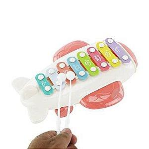 Brinquedo Xilofone Musical infantil Avião c/ Rodinhas - BBR Toys (Rosa)