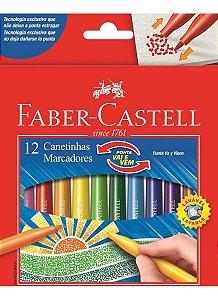 Caneta hidrográfica ponta Vai e Vem com 12 cores no plastico - Faber-Castell