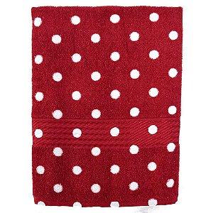 Toalha de Banho Prisma Vermelha C/Bolinha Branca - Dohler