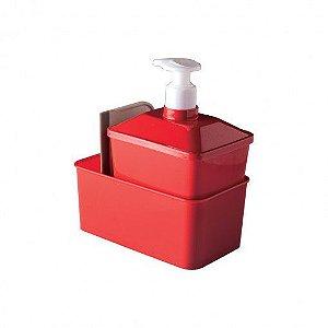 Kit Porta Detergente Quadrado Vermelho Plasutil Plasutil