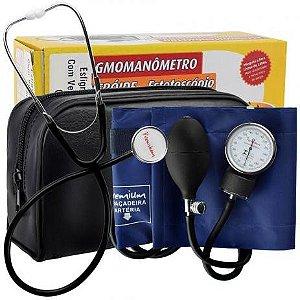 Kit Esfigmomanometro E Estetoscopio Simples Premium Azul