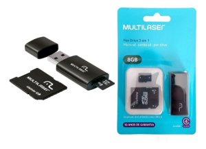 PEN DRIVE 3X1 8GB. MULTILASER