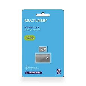 Pen Drive 2 em 1 Leitor USB + Cartão de Memória Classe 10 16GB Preto Multilaser - MC162