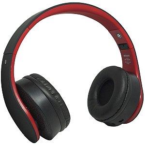 Fone Ouvido Headphone Bluetooth Sem Fio Dobrável Estéreo Fm Sd Mp3 P2 Exbom HF-400BT Preto Vermelho
