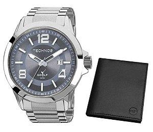 Relógio Technos Golf Masculino + Carteira 2115KPS/K1C