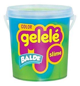 Gelelé Balde Slime Color 457g - Verde e Azul - Doce Brinquedo