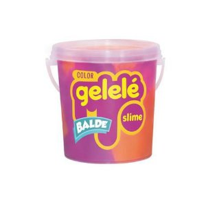 Gelelé Balde Slime Color 457g - Laranja e Roxo - Doce Brinquedo