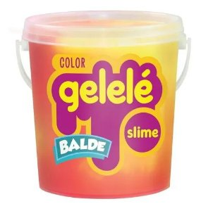 Gelelé Balde Slime Color 457g - Rosa e Amarelo - Doce Brinquedo