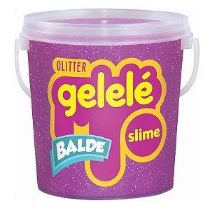Gelelé Slime Balde Glitter 457g Roxo - Doce Brinquedo