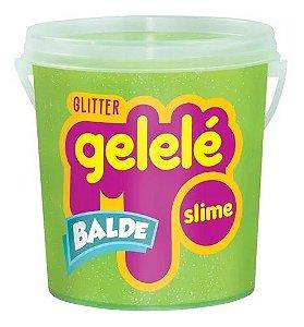 Gelelé Slime Balde Glitter 457g Verde - Doce Brinquedo