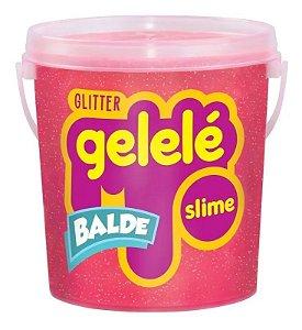 Gelelé Slime Balde Glitter 457g Coral - Doce Brinquedo