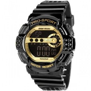 Relógio Mormaii Digital Preto/Dourado Masculino – Y11540/8D