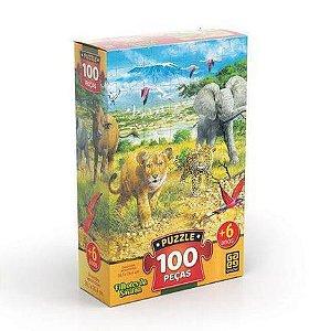 Jogo Quebra Cabeca 100 pcs Filhotes Da Savana Grow