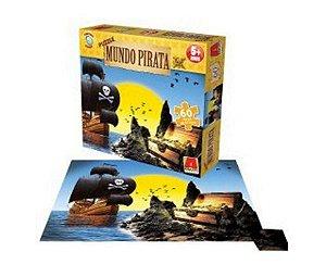 Quebra-cabeça Puzzle Mundo Pirata Com 60 Peças - Novo Mundo