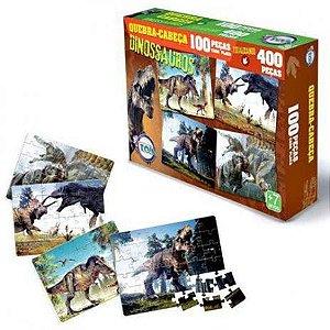 4 Quebra Cabeca de 100 pcs Dinossauros