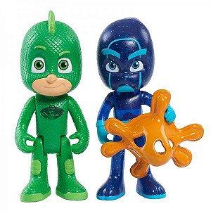 Pj Masks - Herói Com Luz e Inimigo - Lagartixo Com Luz e Ninja Noturno - DTC